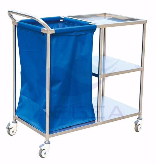 AG-SS010A hospital linen three layers stainless steel laundry trolley