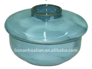 ceramic Japanese bowl with lid in light blue color