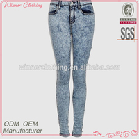 Top quality women acid wash denim women acid wash skinny jeans