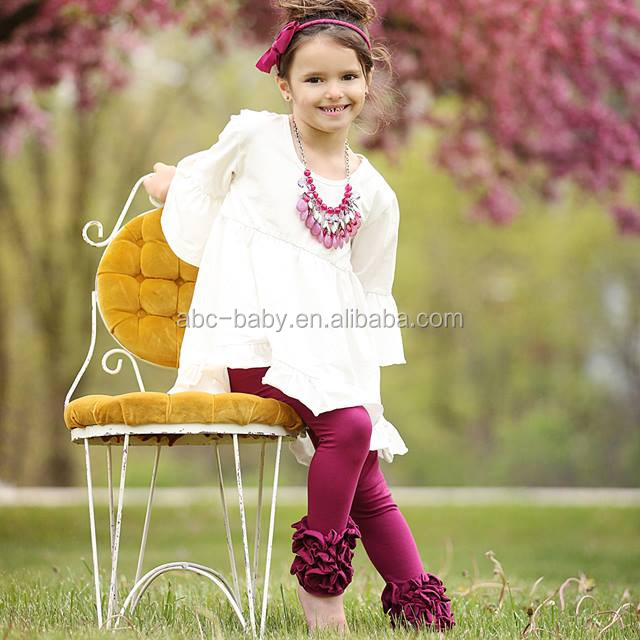 Hot sale girls ruffle outfits baby clothing set plain kids sweat suits