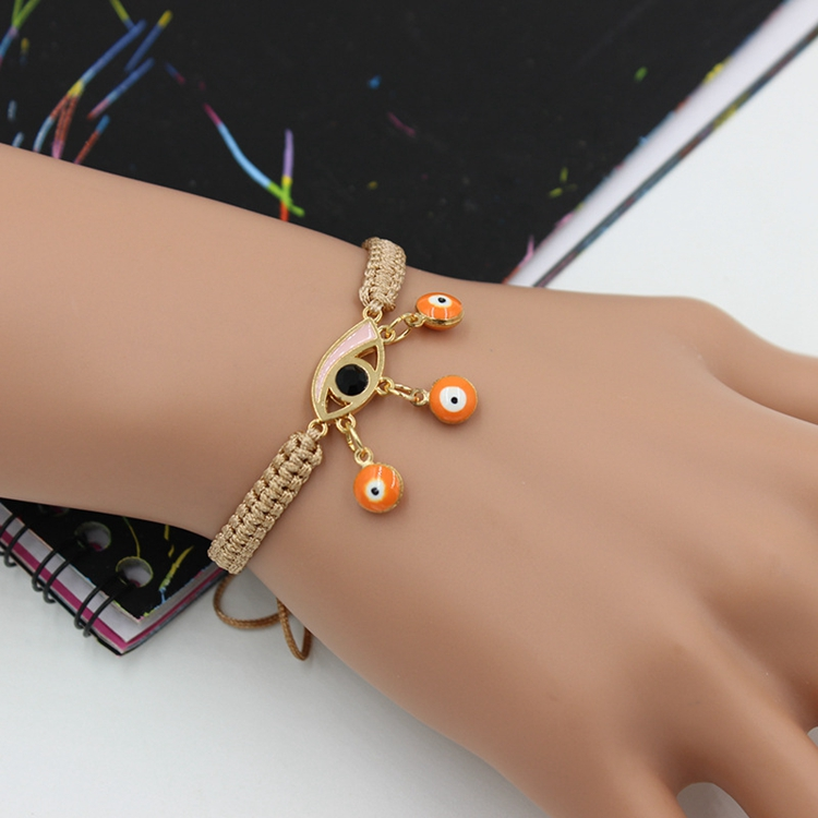 Turkey 14K Gold Evil Eye Charm Woven Rope Girl Gifts Bracelet 2017