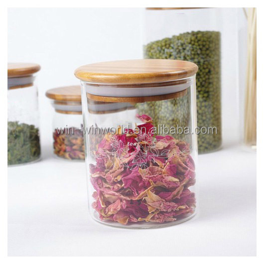 Hermetic Clear Glass Candy Store Containers With Bamboo Lid