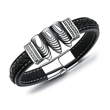 Marlary Custom Fashion Jewelry Spanish Stainless Steel Bracelet Clasps Mens Leather Bracelet