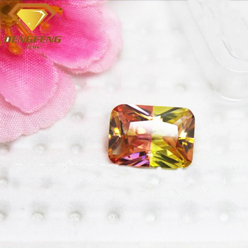 Synthetic Multi Color Gemstone Rectangle Shape Colorful CZ