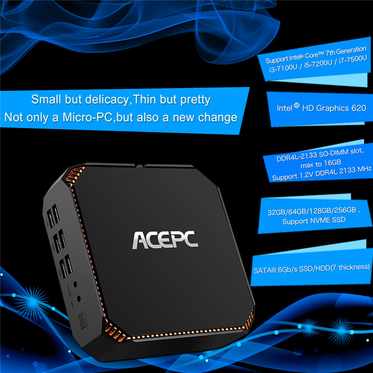 desi tv box Support Intel Core 7th Generation i3-7100U cable tv set top box with CK2 ACEPC win 10 system satellite tv box intern