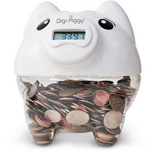 Custom plastic digital coin piggy bank,OEM plastic piggy bank with coin counter,bank digital coin counting money jar