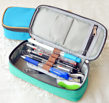 Korea Large Capacity Multifunctional Canvas Pencil Cases Big Leather Pen Bags Box for Boys Girls School Stationery