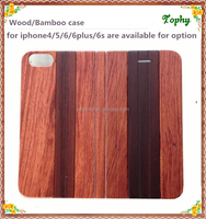 Rose wood padauk whole wooden wood wallet flip plastic cover case for iphone 6/6s/6 plus