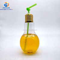 2018Size custom juice drinking led flashing pet plastic light bulb bottle