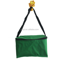Green color polyester promotional cheap nonwoven cooler bag