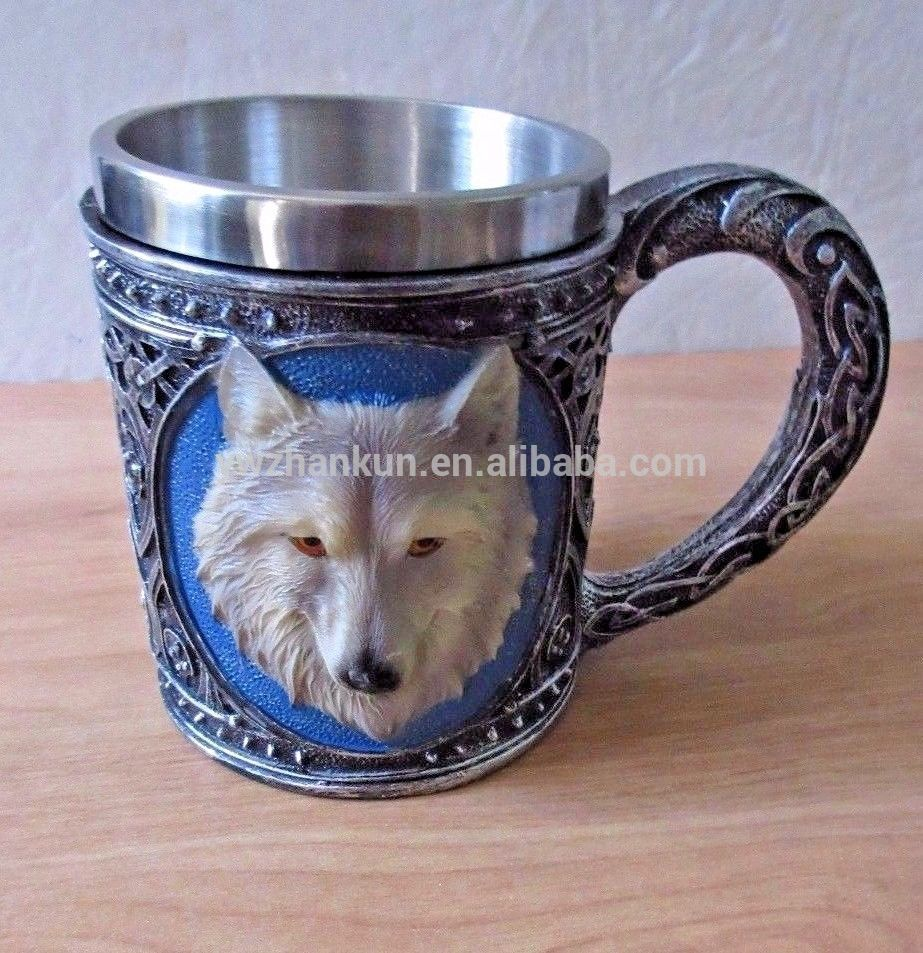 Wolf-Trinkbecher Resin Edelstahlfutter Retro3D Wolf Pattern Hunter's Cup