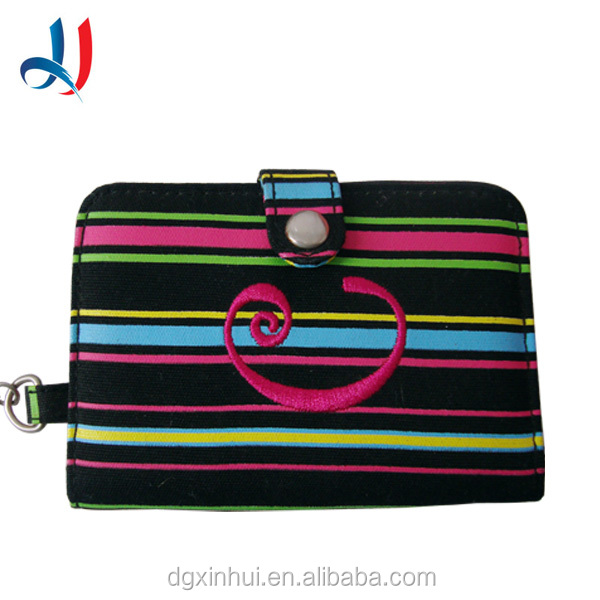 Mini Cute Multi-Color Striped Canvas Card Pouch Travel Passport Card Holder with Embroideried Printing