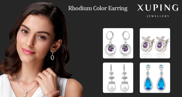 E-151 XUPING handmade jewelry, saudi gold jewelry earring, fancy crystal stud earring designer