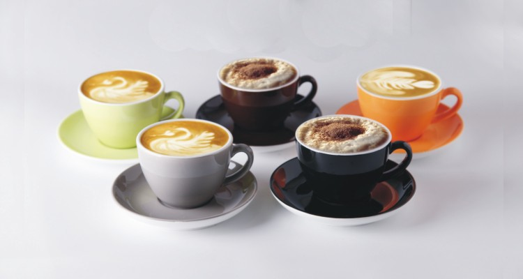 Logo Decal Artwork Design Decorated Customized Ceramic Stoneware Commercial Cups and Saucers Sets