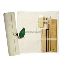 Portable Rolled Up Fabric Pencil Case with Stationery Compartments