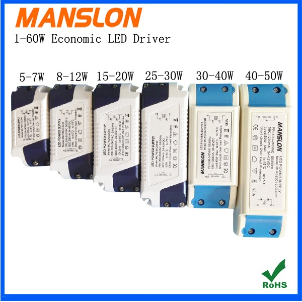 Manslon ROHS approved high quality full range voltage input 600ma led driver 25w-30w 35w led lighting power supply