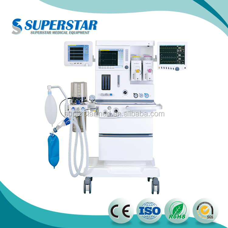 "Factory Price Removable ICU Medical Equipmen 10.4"" TFT LCD Touch Screen Displays Anesthesia Machine with Ventilator S1600 PLUS"