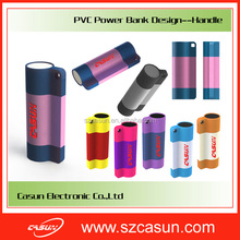 China innovative products for import for christmas gift for 18650 battery pvc power bank handle design 2600mah