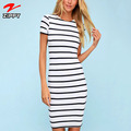 Women fashion dress striped knit bodycon mini dress