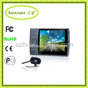 Wide Angle 3.5 inch Camera Video Recorder 2 Channel DVR Cam Dual Lens HD Car dvr with G-sensor Camera Recorder