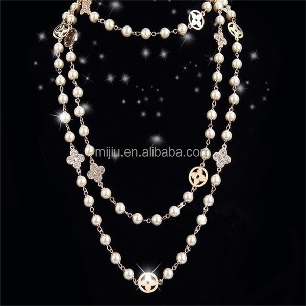 Lady necklace pearl bead dubai new gold chain design