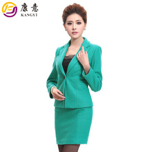 Brand Quality Slim Fit Wool Blend Customized Plus Size Pure Color Long Sleeve Latest Ladies Knit Designer Office Skirt Suits