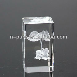 Square 3D Laser Etched Crystal Cube