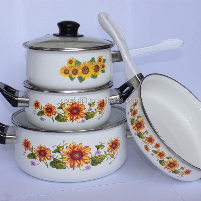 7pcs enamel cookware casseroles set with bakelite handle