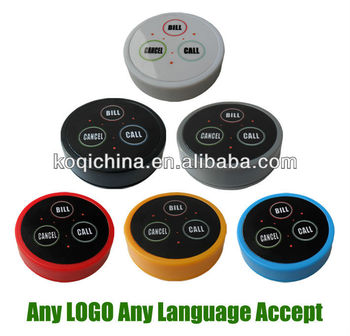 Wireless different types of buzzers to call the waiter K-D3 multi-color available Any LOGO any language accept