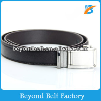 "Beyond Men's 1-3/16"" Brown Genuine Leather Sliding Belt with Nickle Color Interchangeable Plain Buckle"
