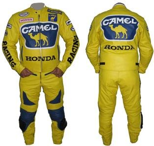 "New Stylish Yellow & Blue Color ""CAMEL"" Motorbike Leather Suit 2Pcs Any Size"