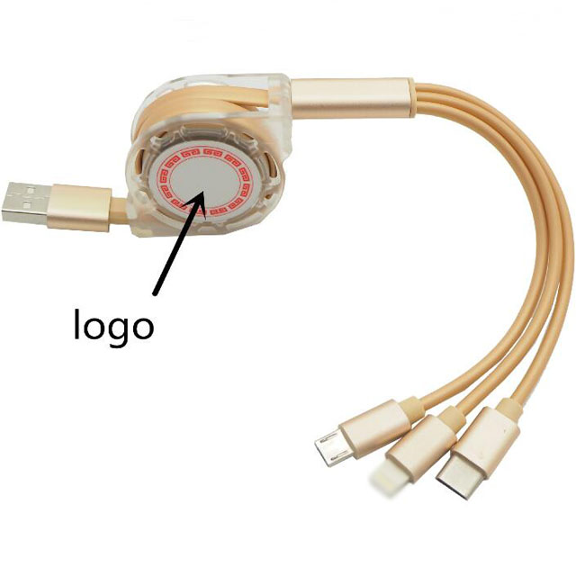 1m Custom Logo Electrical USB Multi Charge Aux Cable Wires