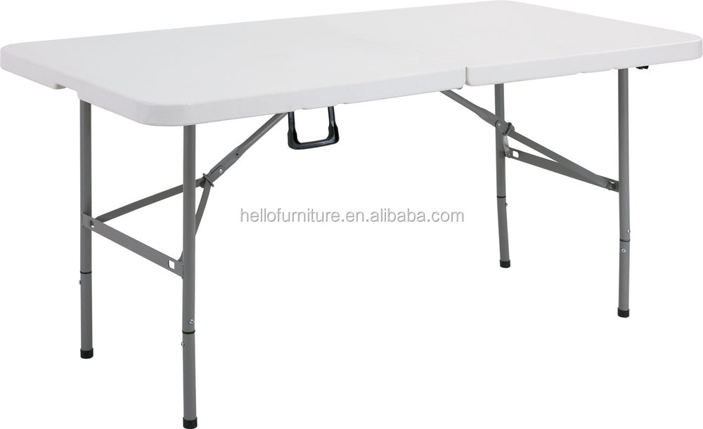 4ft plastic adjustable height folding in half table