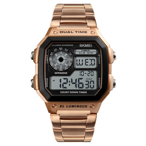 Best Selling 2019 Mens SKMEI 1335 Rose Gold Silver Stainless Steel Digital Sport Watches Free Shipping