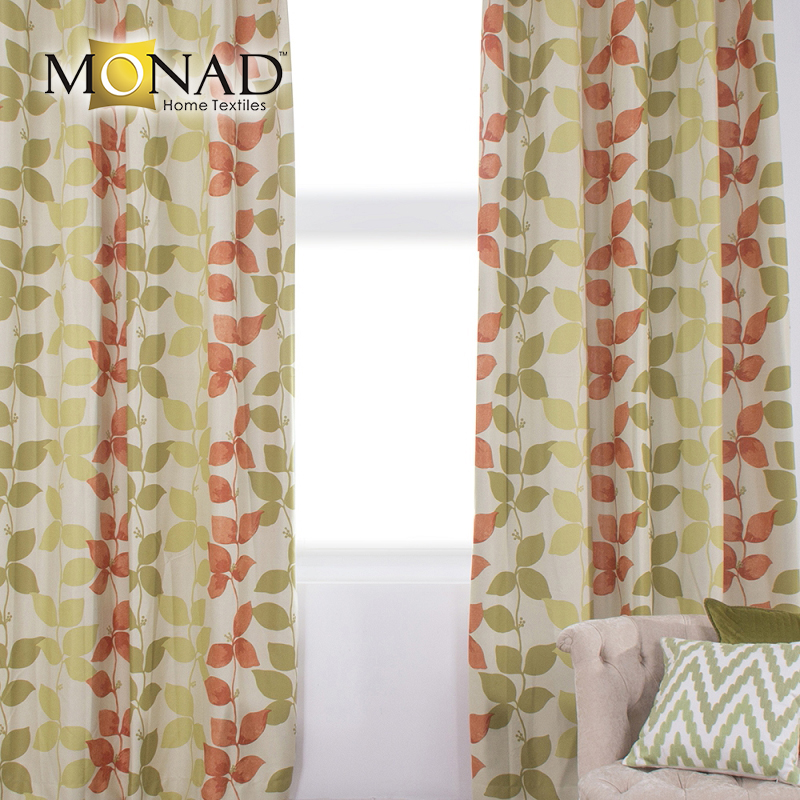 Monad modern leaf spice and green curtain blackout with magnetic strip for meeting room