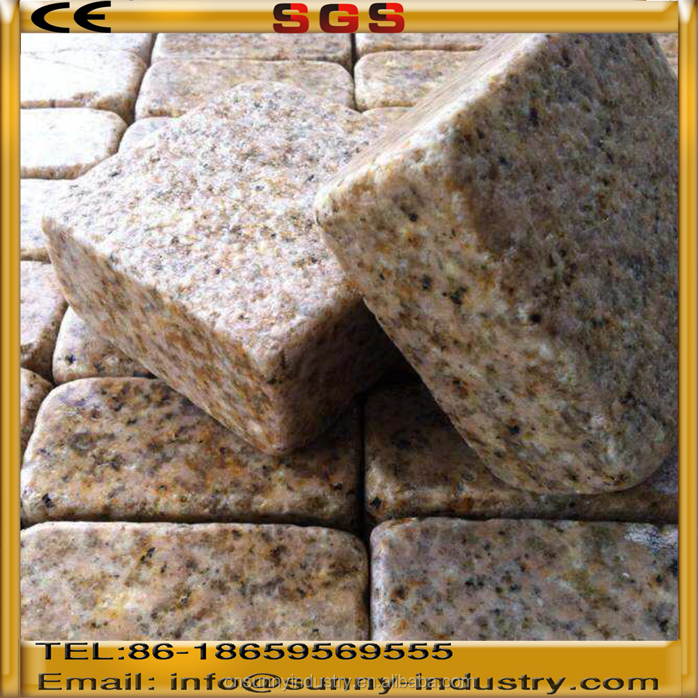 cheap yellow granite cobble stone paving stone