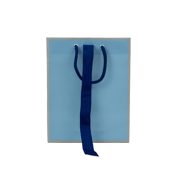 Custom recyclable blue luxury gift paper shopping bag with ribbon closure