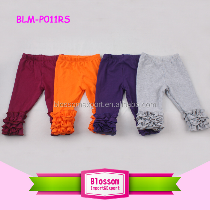 Wholesale icing pants red and white stripes cotton ruffle leggings girls icing pants