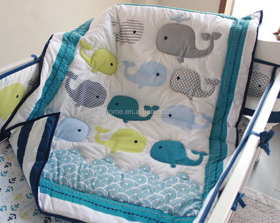 2016 new design handmade whale embroidery sea print ocean bedding blue bedding print fitted sheet print quilt