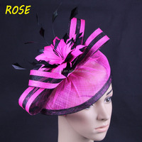 2015 New Wholesale Sinamay Fascinator Hat With Feather For Party