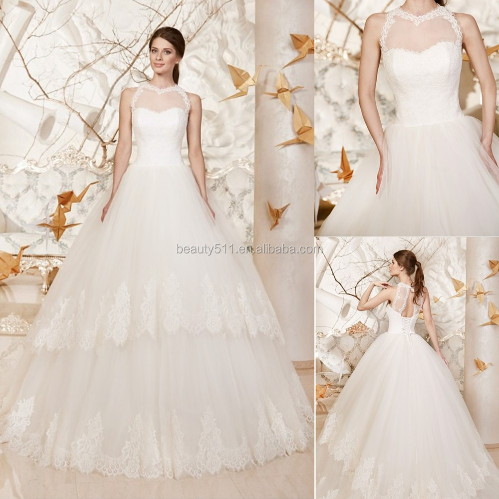Latest Designs 2017 A-line illusion Neckline Sleeveless Floor-length Lace Bridal Gowns Sweet Wedding Dresses alibaba WD16426