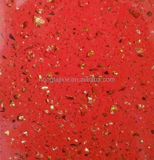 Red engineered quartz stone, pre cut quartz slab for kitchen table tops