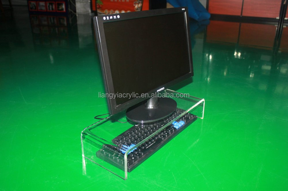 Clear transparent modern acrylic computer monitor stand