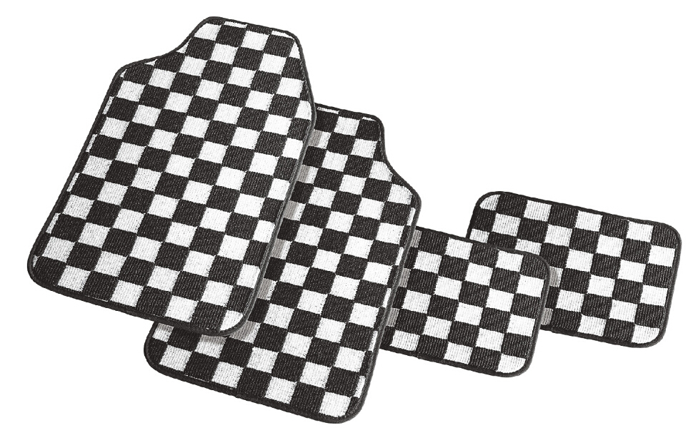 4 or 5 piece set Japanese style checker plate black & white carpet mat