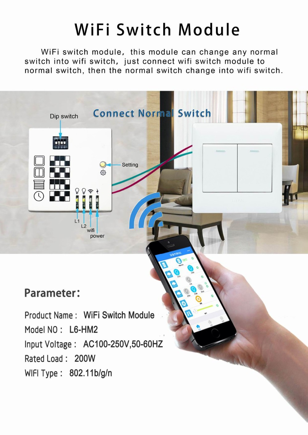 Mobile App Control Normal Light Switch Connect With Wifi Switch ...