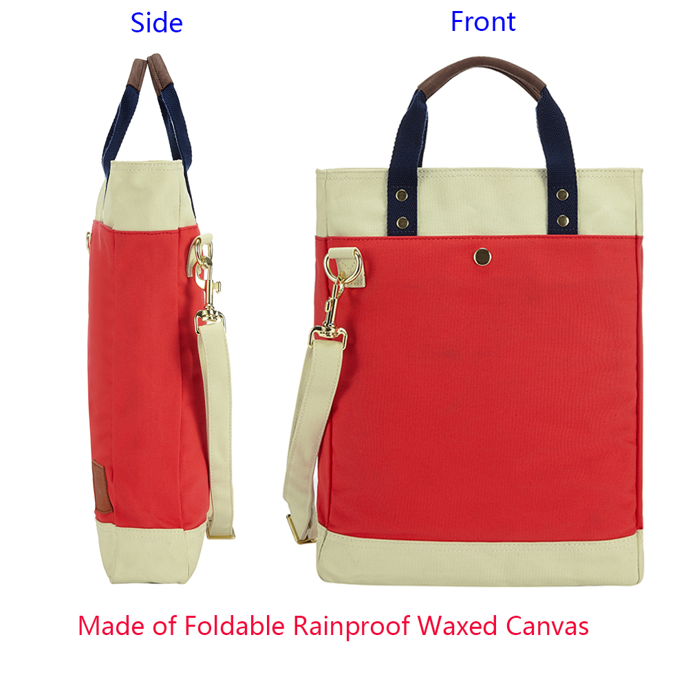 China Women Waterproof Waxed Tote Bag Factory Wholesales <strong>U</strong>.S. Fashion YKK Zipper Lock Casual Canvas Bag Leather Handle