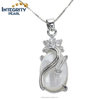cheap wholesale factory price classical silver plated sea shell oyster pendant necklace pearl