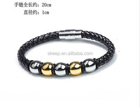 stainless steel weave leather man bracelet titanium steel magnet clasp bangle handchain fashion jewelry sl245