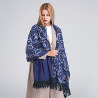 2016 new arrival western style old women dot print poncho shawl