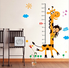 Giraffe Monkey Tree Kids height measuring Wall Stickers Boy Girl Growth Chart